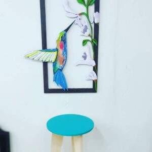 cuadro artesanal colibri en madera MDF