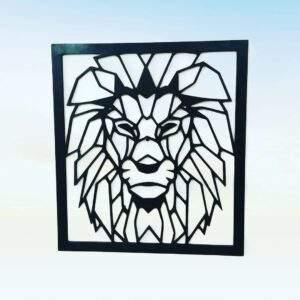 cuadro leon geometrico en madera MDF