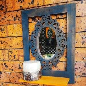 repisa con espejo en madera MDF
