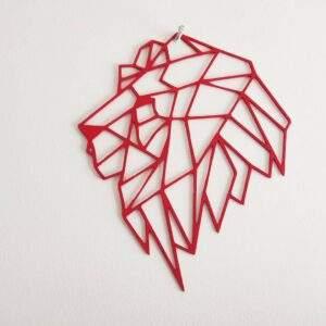 leon geometrico en madera MDF