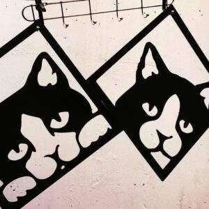 gatos geométricos en madera MDF